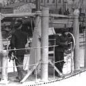 Фото 26. Акула в Ревеле, 1915 год. Фрагмент снимка. На мостике - капитан 2-го ранга Н.А. Гудим.