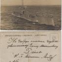 """Фото 32. Почтовая открытка с фото ПЛ """"Акула"""" и подписью К.Б. Лагидзе - старшего помощника командира, старшего офицера лодки"""