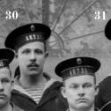 """10. Фрагмент снимка экипажа подводной лодки """"Акула"""", осень 1914 г."""