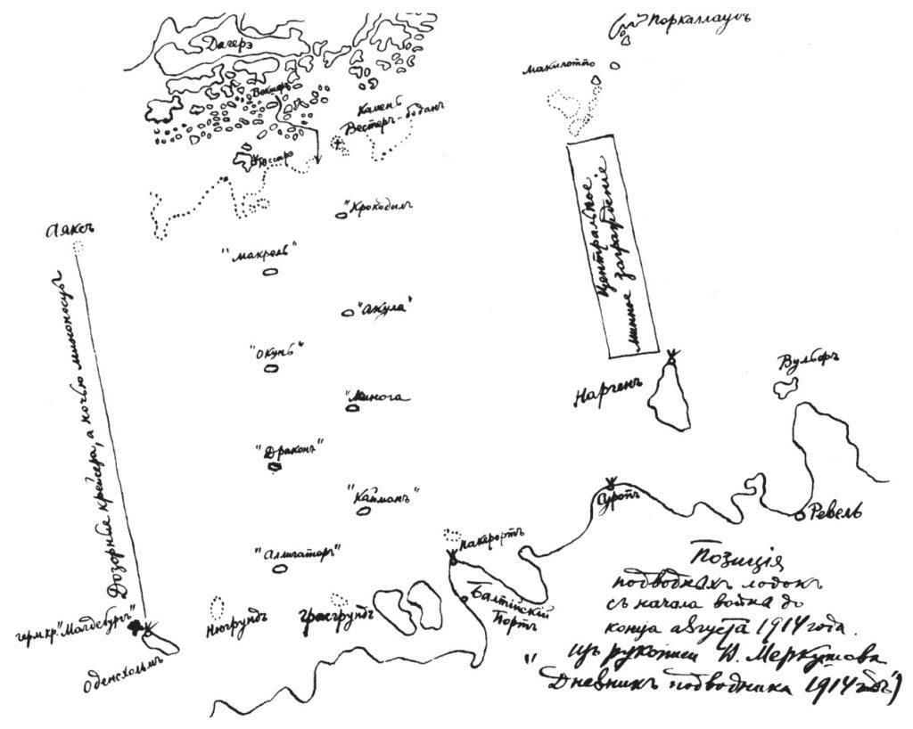 """Позиция подводных лодок с начала войны до конца августа 1914 года. (рисунок из рукописи В.А.Меркушова """"Дневник подводника"""")"""